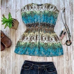 Elementz sheer sweetheart neckline bohemian blouse